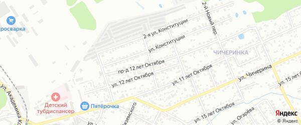 Переулок 12 лет Октября на карте Брянска с номерами домов