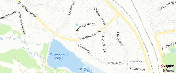 Ольховская улица на карте Брянска с номерами домов