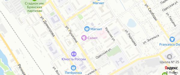Улица Красной Гвардии на карте Брянска с номерами домов