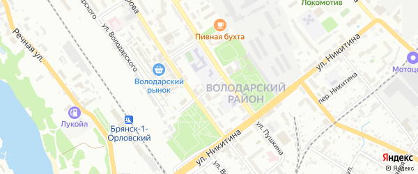 Волгоградский переулок на карте Брянска с номерами домов