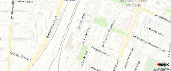 Территория БГ по ул 2-я Аллея на карте Брянска с номерами домов