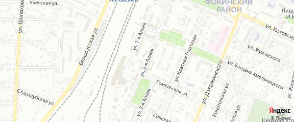 Улица 2-я Аллея на карте Брянска с номерами домов