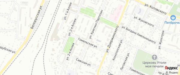 Улица Красных Партизан на карте Брянска с номерами домов