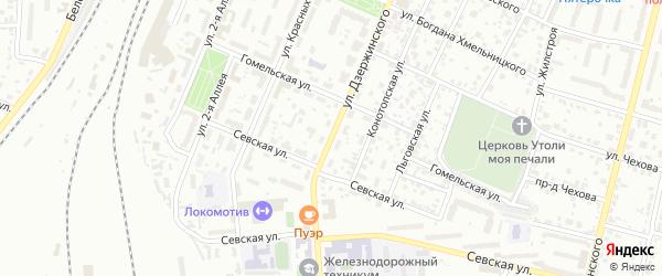 Территория ГСК Глобус по ул Дзержинского на карте Брянска с номерами домов