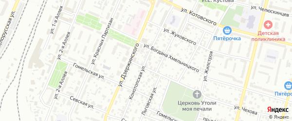 Конотопская улица на карте Брянска с номерами домов