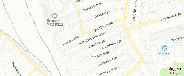 Переулок Дзержинского на карте Брянска с номерами домов