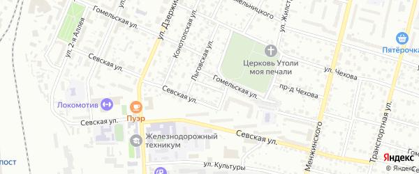 2-й Севский переулок на карте Брянска с номерами домов