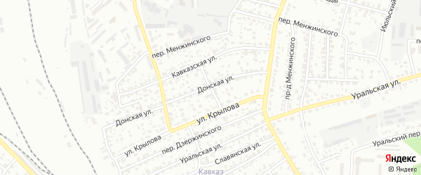 Кавказский переулок на карте Брянска с номерами домов