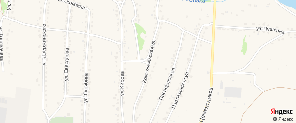 Комсомольская улица на карте Фокино с номерами домов