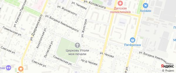 Улица Богдана Хмельницкого на карте Брянска с номерами домов