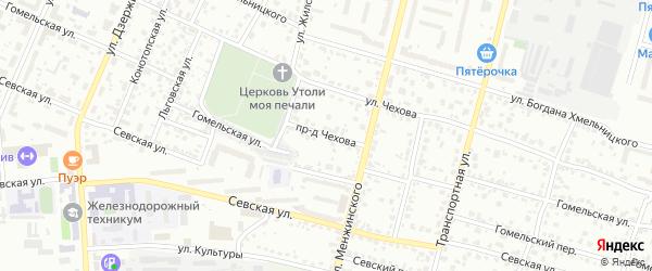 Проезд Чехова на карте Брянска с номерами домов