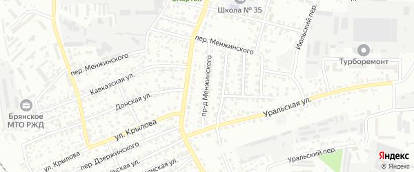 Проезд Менжинского на карте Брянска с номерами домов