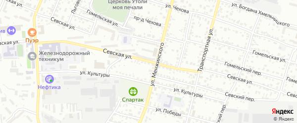Севская улица на карте Брянска с номерами домов