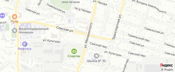 Улица Менжинского на карте Брянска с номерами домов