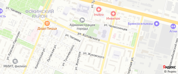 Улица Котовского на карте Брянска с номерами домов
