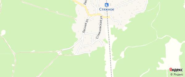 Лесной переулок на карте поселка Стяжного с номерами домов