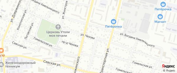 Улица Чехова на карте Брянска с номерами домов