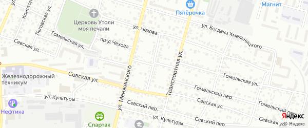 Железнодорожная улица на карте Брянска с номерами домов