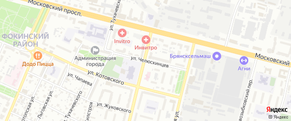 Улица Челюскинцев на карте Брянска с номерами домов