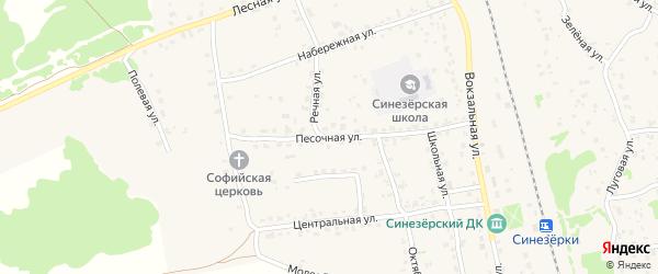 Песочная улица на карте поселка Синезерки с номерами домов