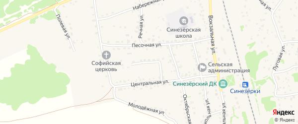 Октябрьский переулок на карте поселка Синезерки с номерами домов