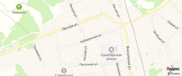 Набережная улица на карте поселка Синезерки с номерами домов