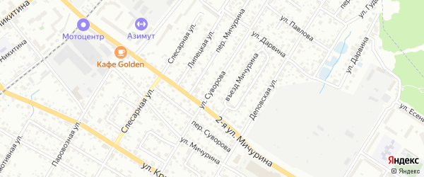 Улица Суворова на карте Брянска с номерами домов