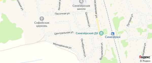 Центральная улица на карте поселка Синезерки с номерами домов