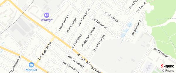 Въезд Мичурина на карте Брянска с номерами домов