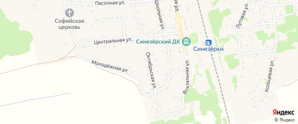 Октябрьская улица на карте поселка Синезерки с номерами домов