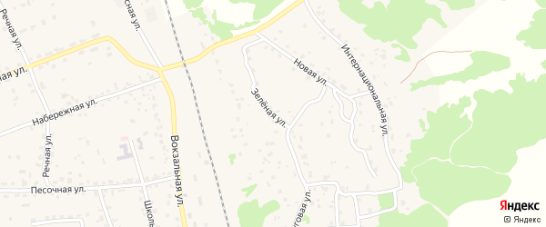 Зеленая улица на карте поселка Синезерки с номерами домов