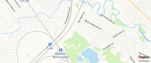 Территория СО Железнодорожник-2 на карте Брянска с номерами домов
