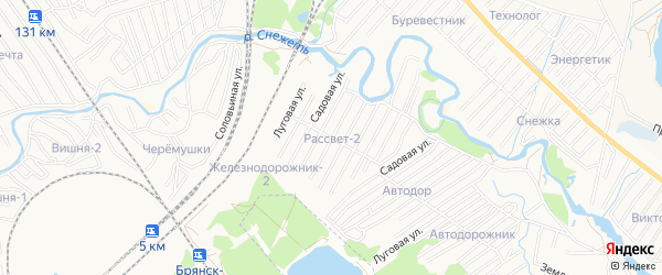 Территория СО Рассвет-2 на карте Брянска с номерами домов
