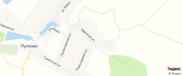 Заречная улица на карте села Пупково с номерами домов