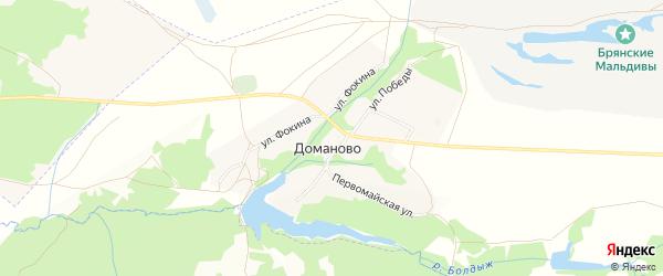 Карта деревни Доманово в Брянской области с улицами и номерами домов