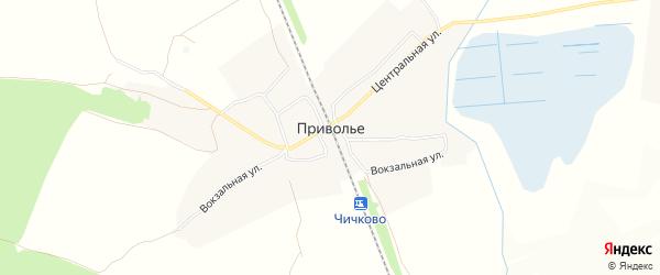 Карта деревни Приволья в Брянской области с улицами и номерами домов