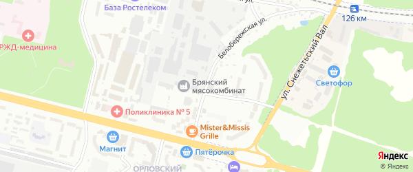 Белобережская улица на карте Брянска с номерами домов