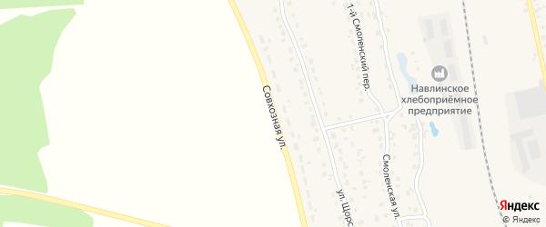 Совхозная улица на карте поселка Навли с номерами домов