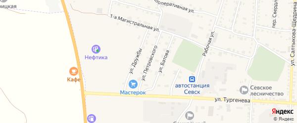 Улица Петровского на карте Севска с номерами домов