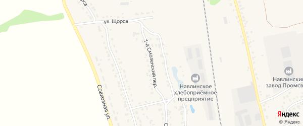 1-й Смоленский переулок на карте поселка Навли с номерами домов
