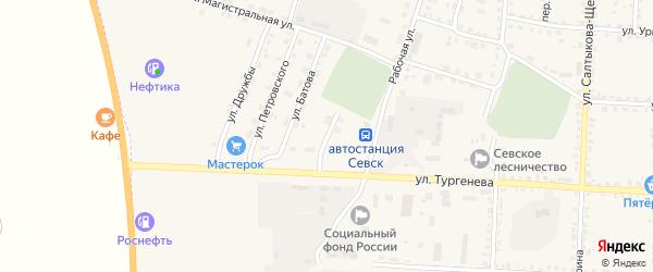 Переулок Батова на карте Севска с номерами домов
