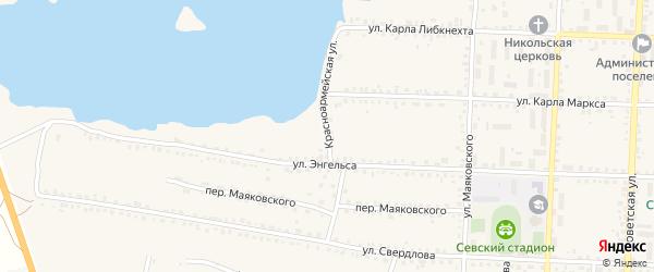 Красноармейская улица на карте Севска с номерами домов