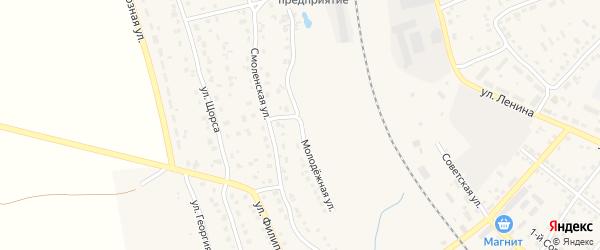 Молодежная улица на карте поселка Навли с номерами домов