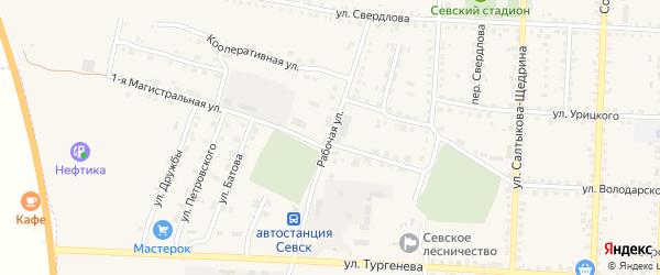Рабочая улица на карте Севска с номерами домов