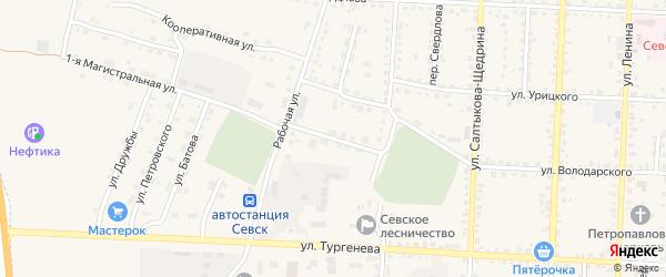 Переулок имени Володарского на карте Севска с номерами домов