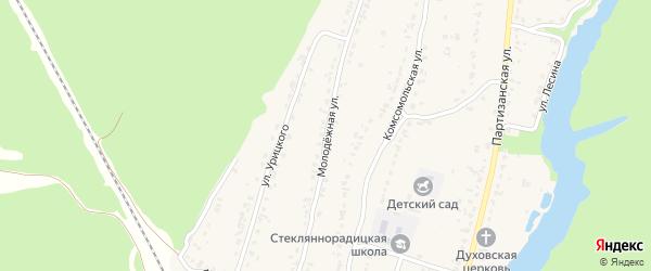 Молодежная улица на карте деревни Стеклянной Радицы с номерами домов