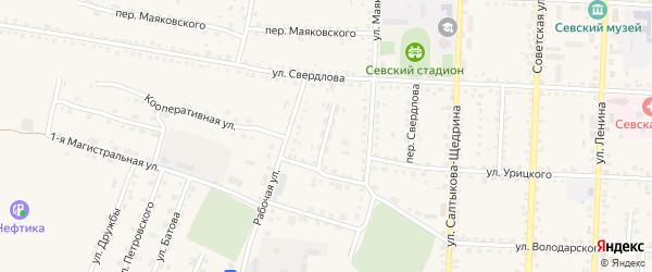Переулок Строителей на карте Севска с номерами домов