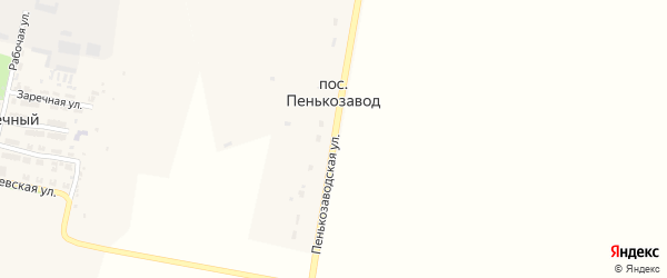 Пенькозаводская улица на карте поселка Пенькозавода с номерами домов