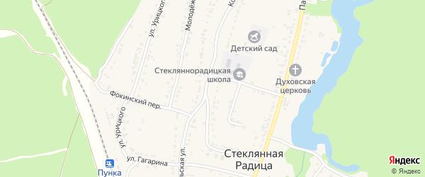 Комсомольская улица на карте деревни Стеклянной Радицы с номерами домов