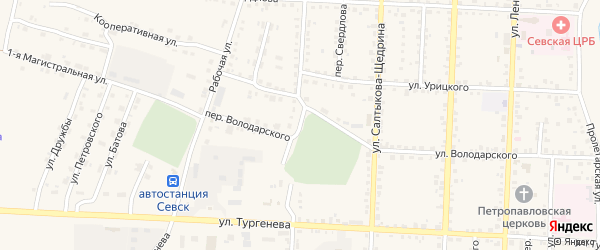 Улица Маяковского на карте Севска с номерами домов